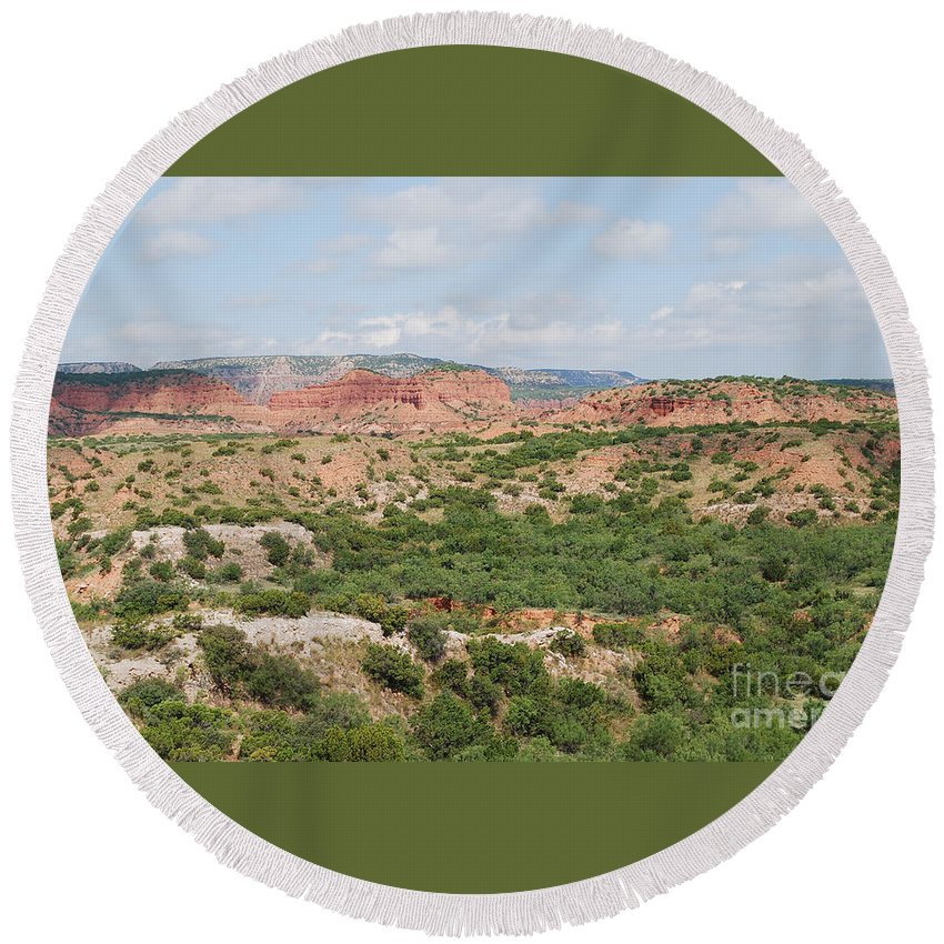 Caprock Canyon State Park Prints Round Beach Towel featuring the photograph Caprock Canyon State Park by Ruth Housley