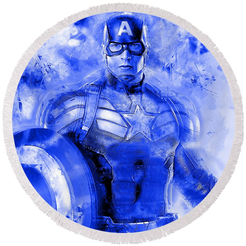 Avengers Round Beach Towel featuring the mixed media Captain America by Love Art