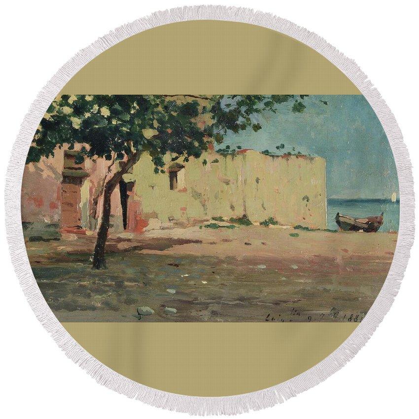 Benedetto Musso (laigueglia 1835-1883) Round Beach Towel featuring the painting Case Sulla Marina Di Laigueglia by Benedetto Musso