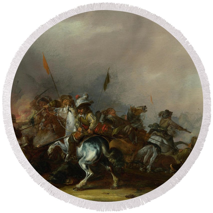 Rifles Round Beach Towel featuring the painting Cavalry Attacked By Infantry by Jacob Weier