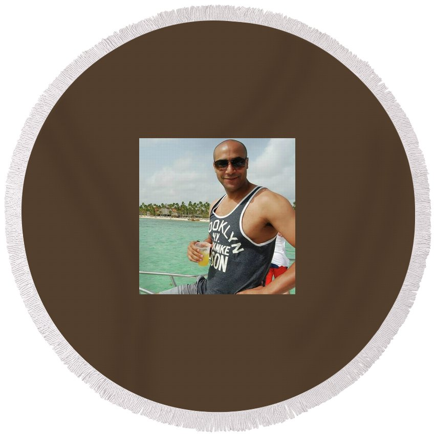 Chris Oyolokor Round Beach Towel featuring the pyrography Christopher Oyolokor by Chris Oyolokor