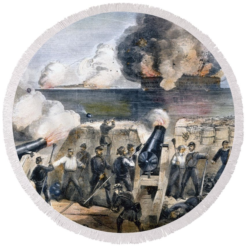 1861 Round Beach Towel featuring the photograph Civil War: Fort Sumter by Granger