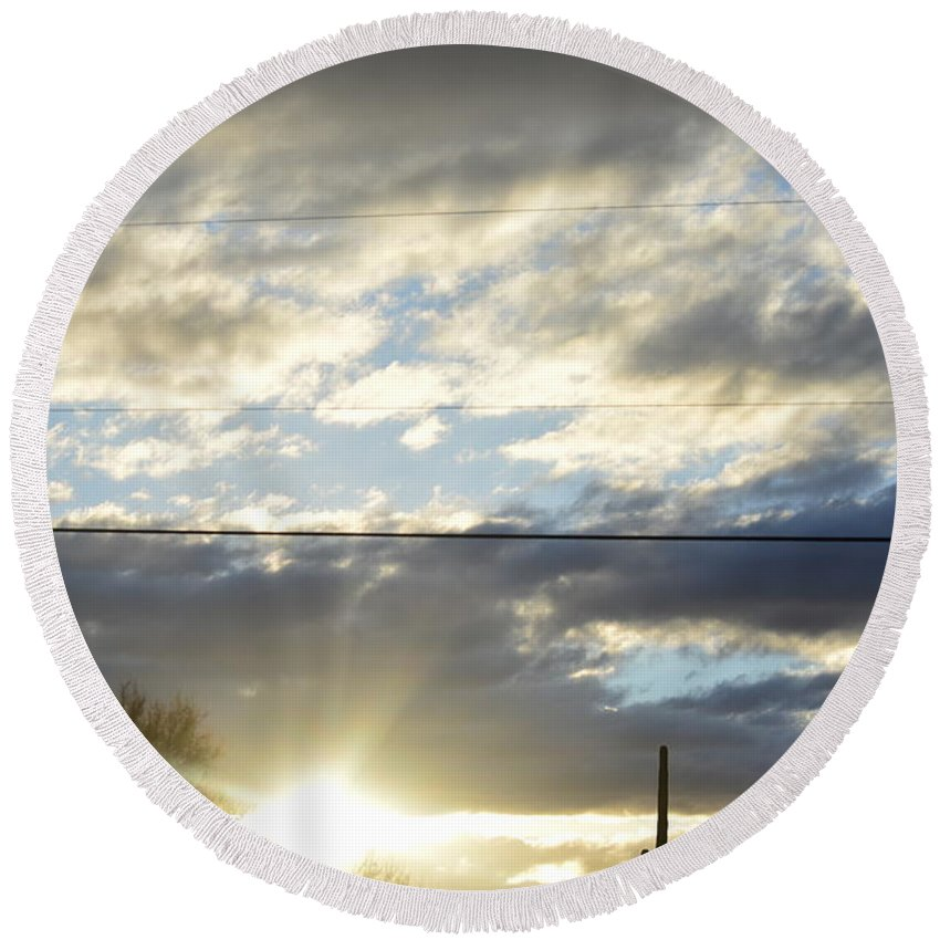 Round Beach Towel featuring the photograph Cloudy Blue by Joshua Barham