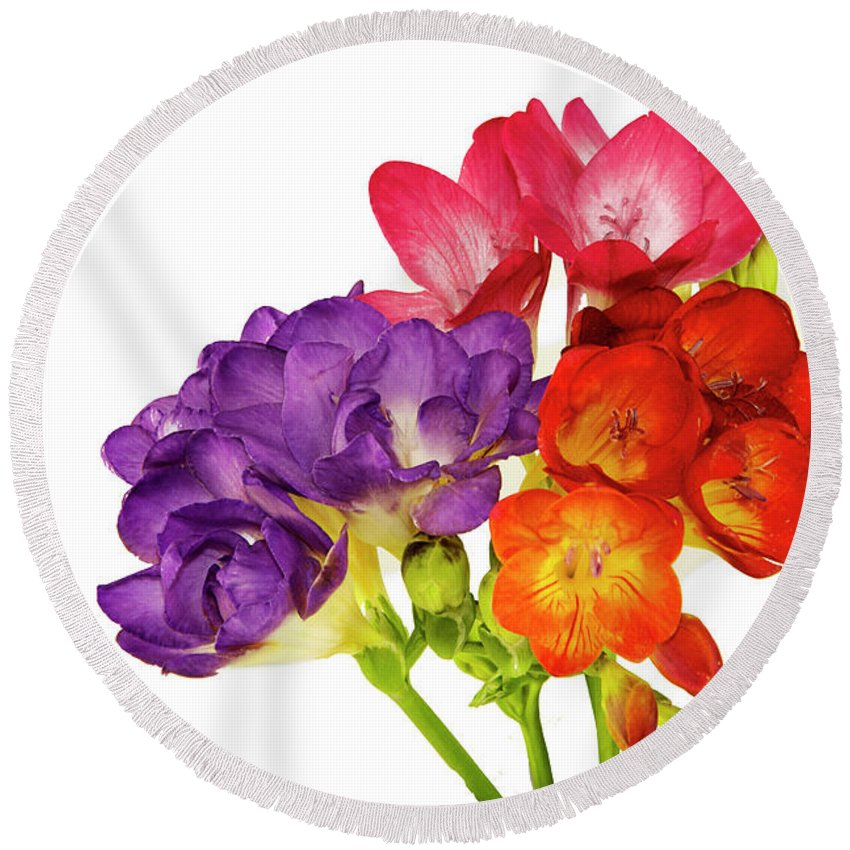 Flowers Round Beach Towel featuring the photograph Colorful Freesias by Elvira Ladocki