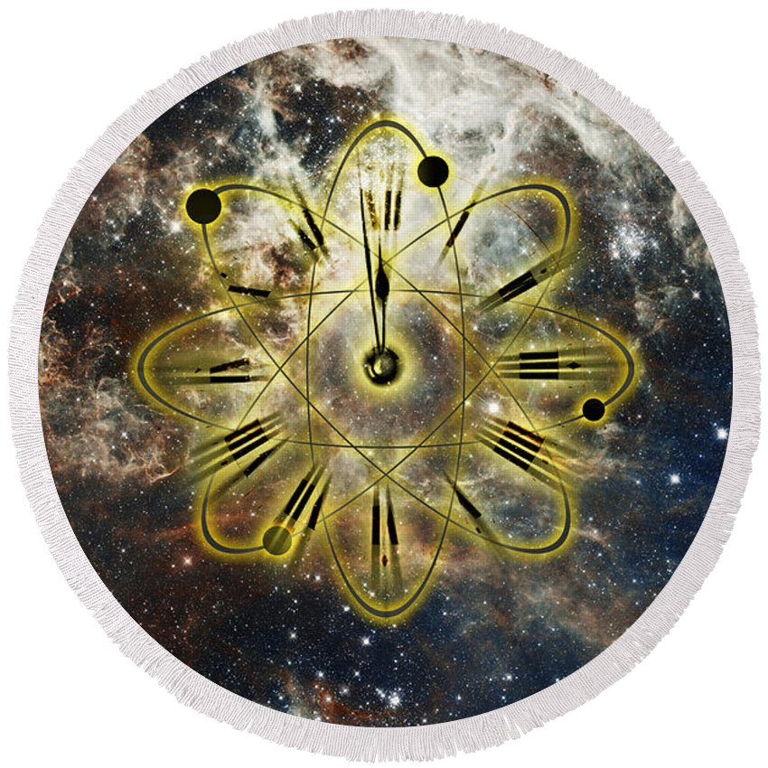 Atomic Clock Round Beach Towel featuring the photograph Conceptual Illustration Of Atomic Clock by George Mattei