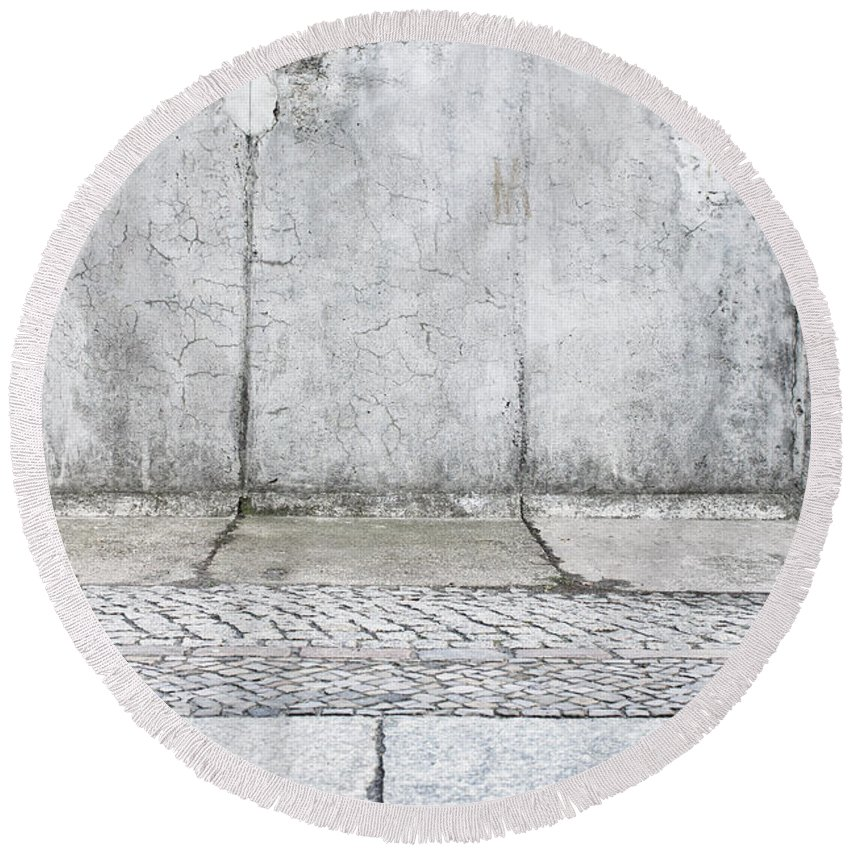 Abstract Round Beach Towel featuring the photograph Concrete Background by Tom Gowanlock