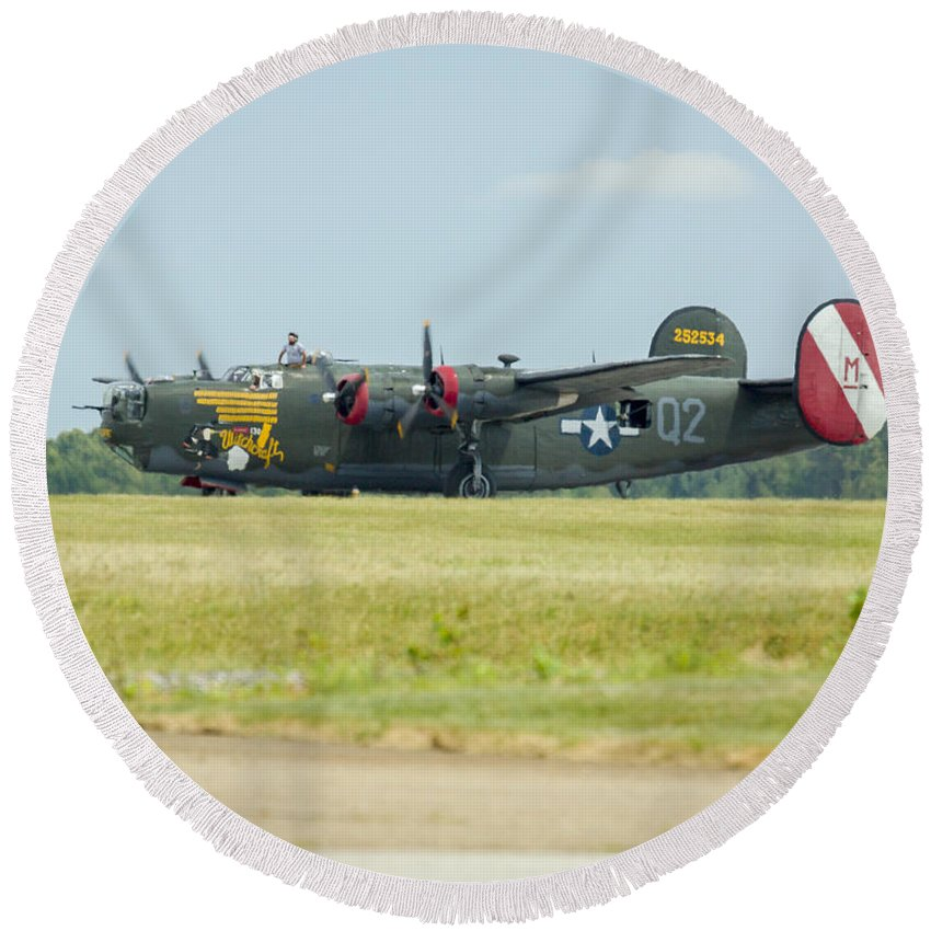 Aircraft Round Beach Towel featuring the photograph Consolidated B-24j Liberator by Jack R Perry