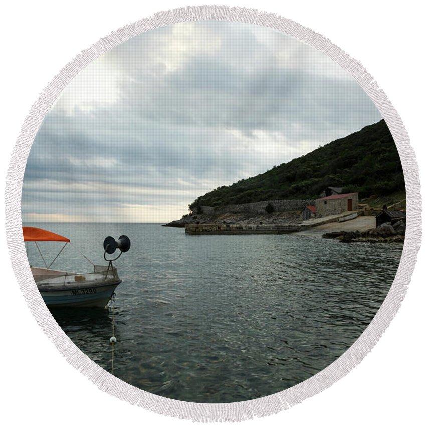 Losinj Round Beach Towel featuring the photograph Cunski Beach And Coastline, Losinj Island, Croatia by Ian Middleton
