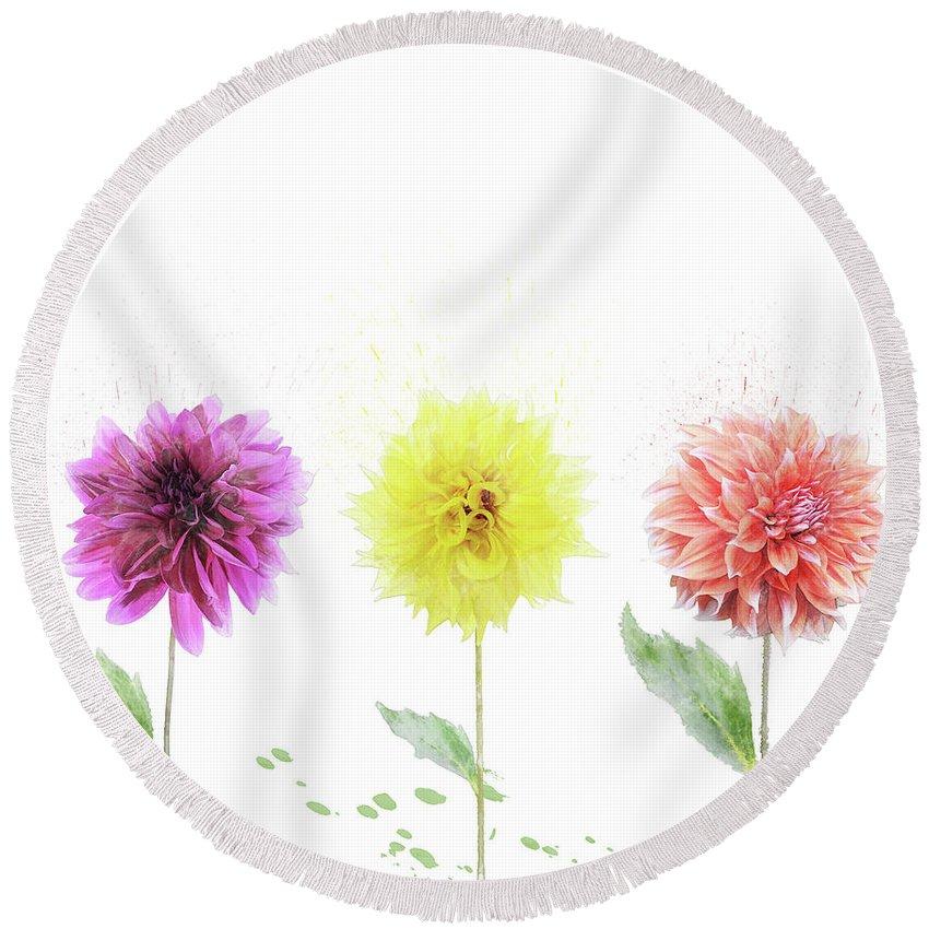 Dahlia Round Beach Towel featuring the digital art Dahlia Flowers by Svetlana Foote