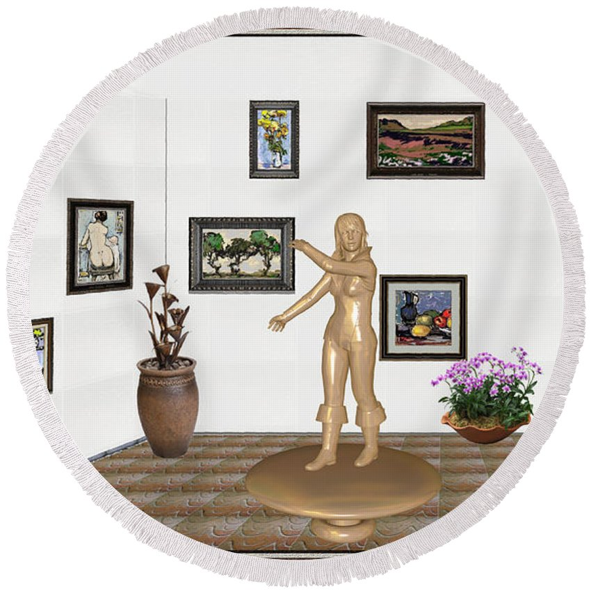 People Round Beach Towel featuring the mixed media digital exhibition _ Sculpture 11 of girl by Pemaro