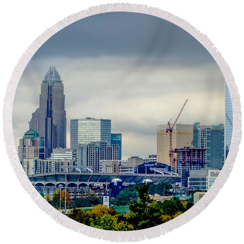 And Round Beach Towel featuring the photograph Dramatic Sky And Clouds Over Charlotte North Carolina by Alex Grichenko