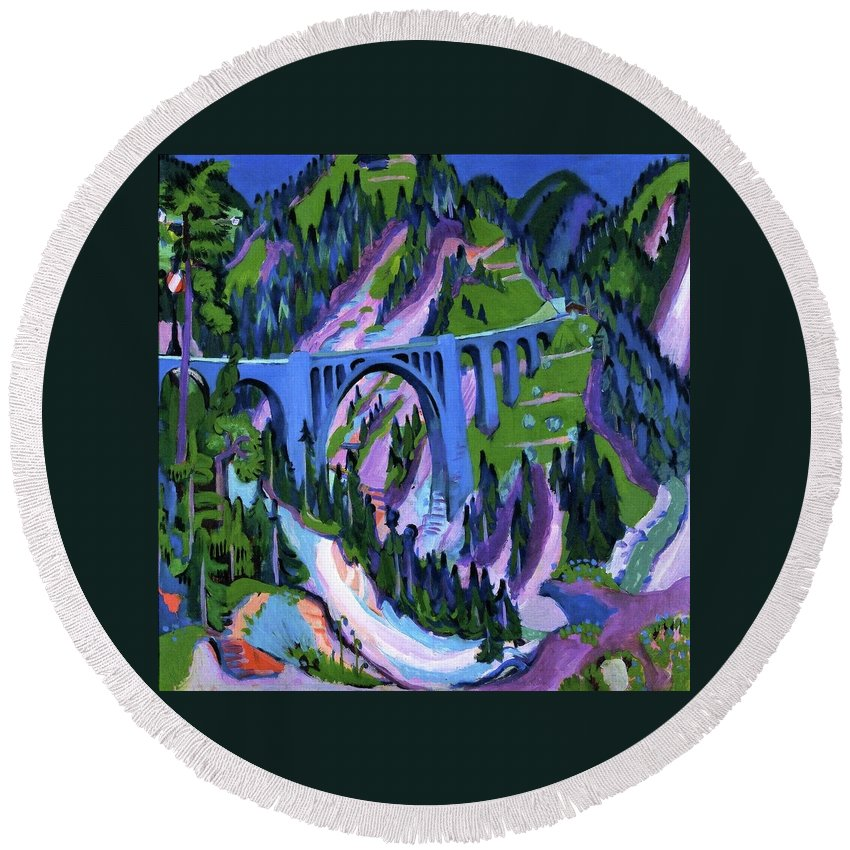 Bridge At Wiesen (ernst Ludwig Kirchner Round Beach Towel featuring the painting Ernst Ludwig Kirchner by MotionAge Designs