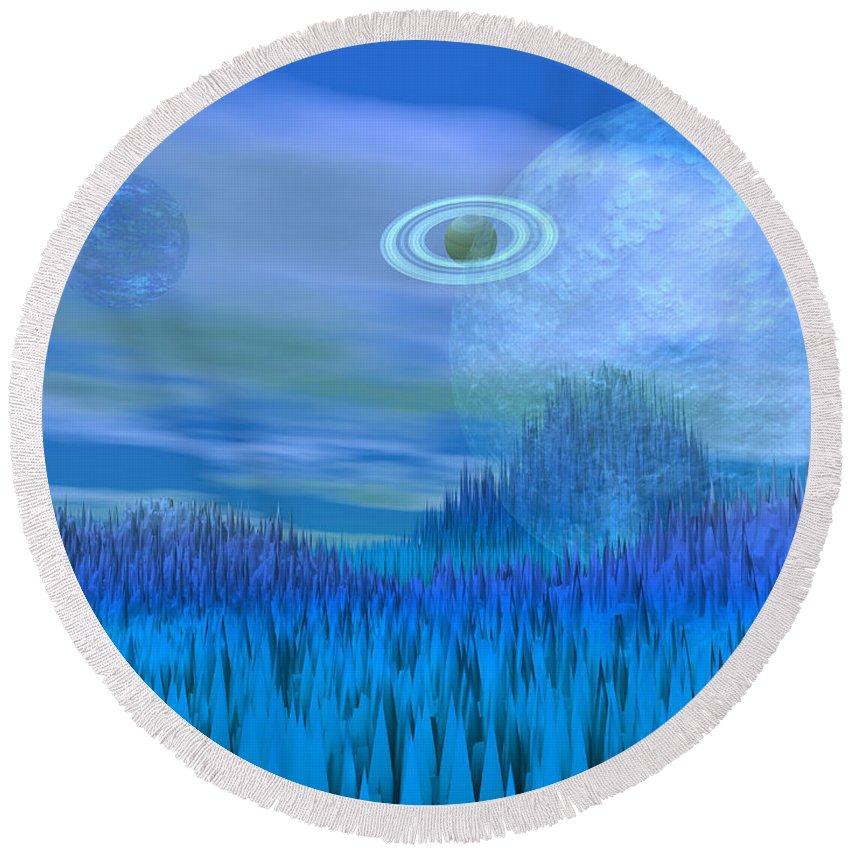 Alien Round Beach Towel featuring the digital art Fantasy Landscape by Elenarts - Elena Duvernay Digital Art