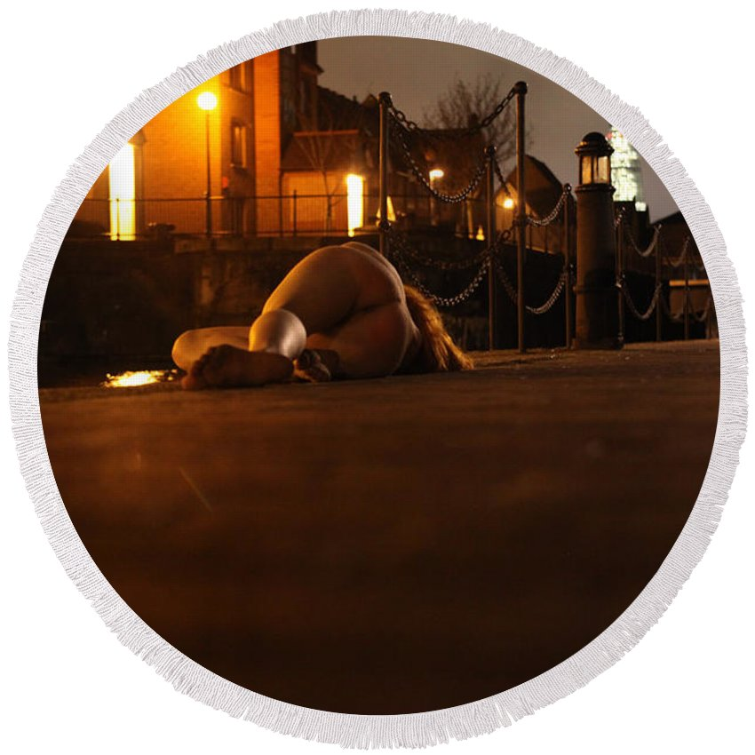 Fine Art Nude Round Beach Towel featuring the photograph Fawnya Frolic by Nocturnal Girls