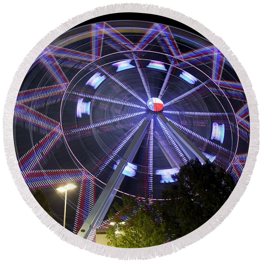 Dallas - Texas Round Beach Towel featuring the photograph Ferris Wheel At The Texas State Fair In Dallas Tx by Anthony Totah