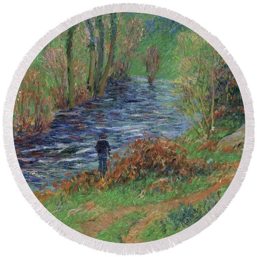 Fisher On The Bank Of The River Round Beach Towel featuring the painting Fisher On The Bank Of The River by Henri Moret