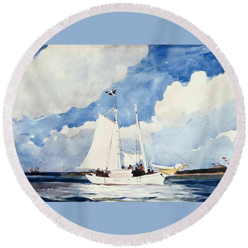 Fishing Schooner Round Beach Towel featuring the painting Fishing Schooner by Winslow Homer