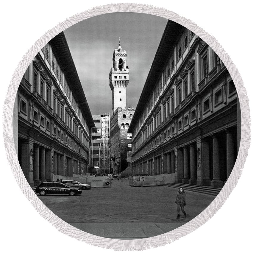 Florence Round Beach Towel featuring the photograph Florence by Guy Ciarcia