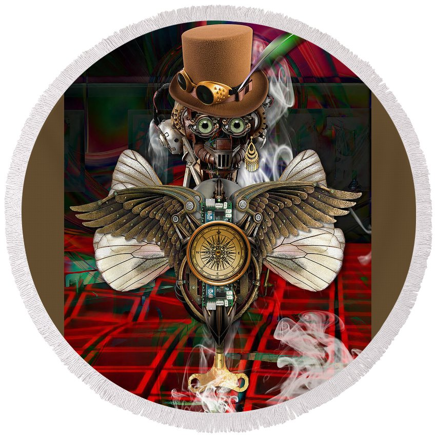 Steampunk Round Beach Towel featuring the mixed media Flying High by Marvin Blaine