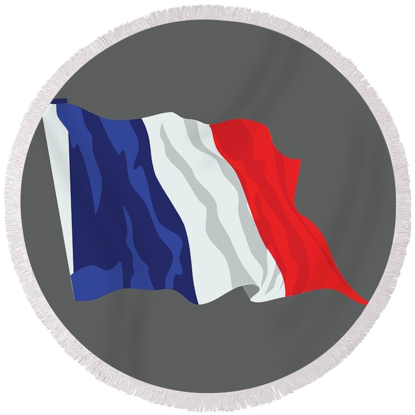 Flag Round Beach Towel featuring the digital art France Flag by Frederick Holiday