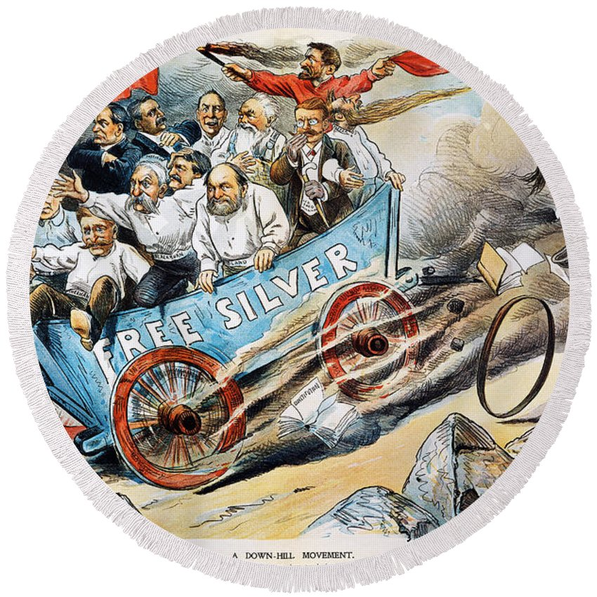 1896 Round Beach Towel featuring the photograph Free Silver Cartoon, 1896 by Granger