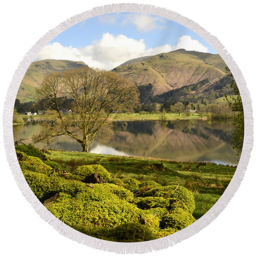 Grasmere Lake District Round Beach Towel featuring the photograph Grasmere by Smart Aviation