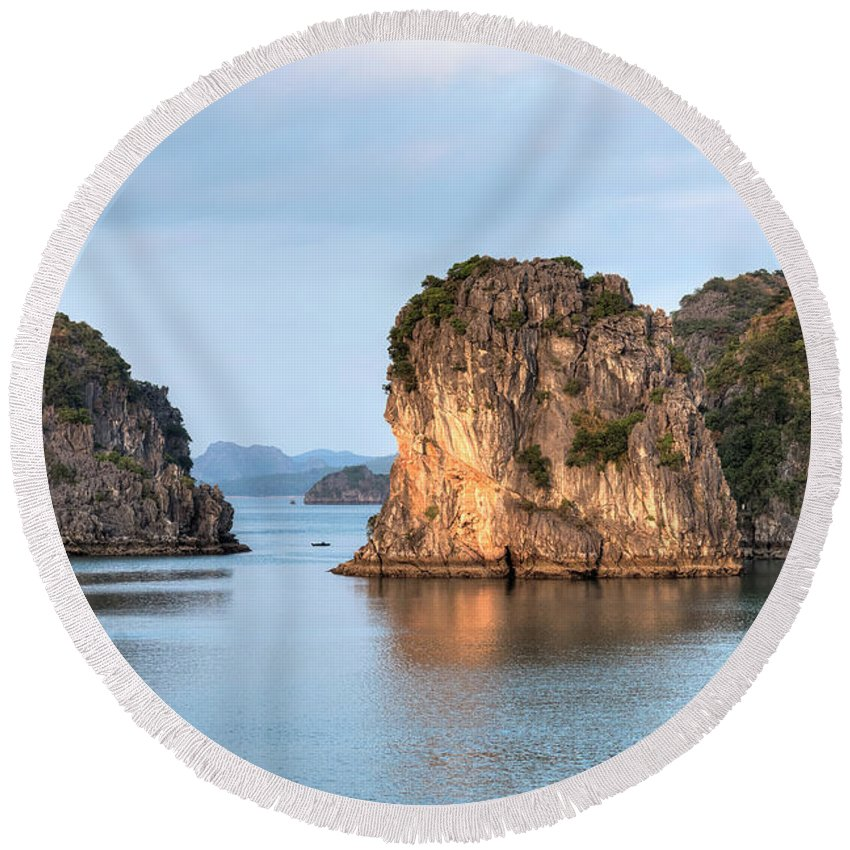 Halong Bay Round Beach Towel featuring the photograph Halong Bay - Vietnam by Joana Kruse