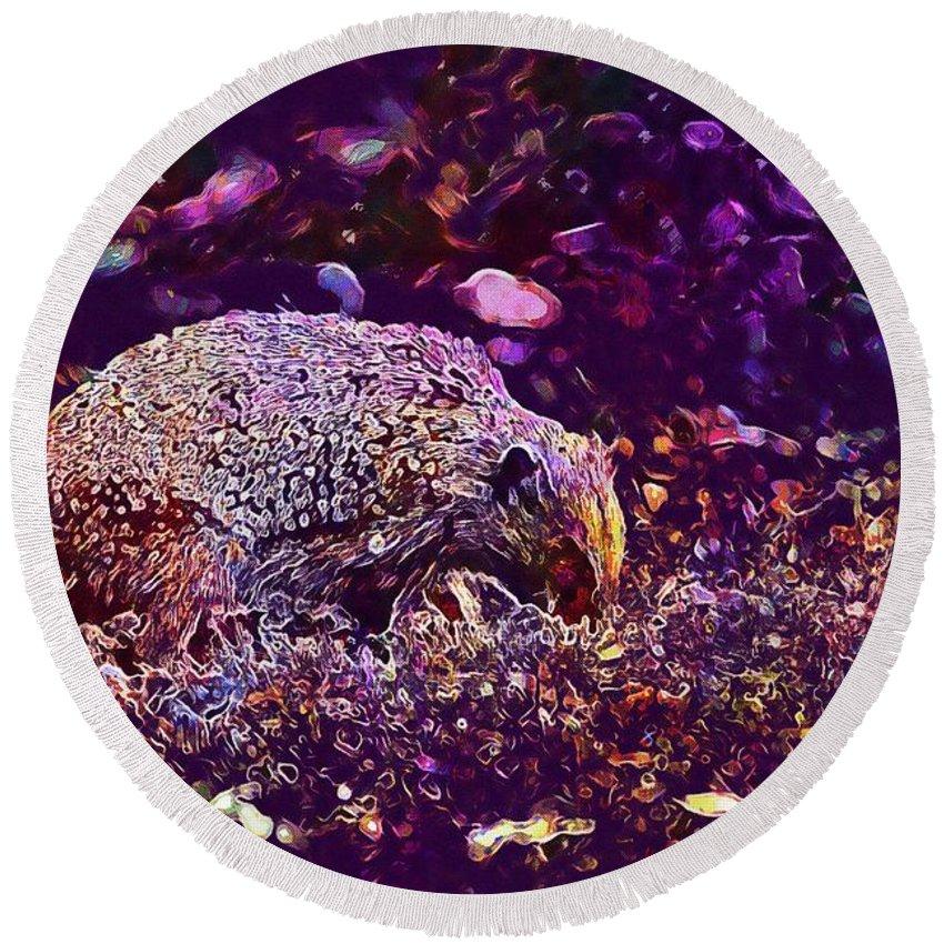 Hedgehog Round Beach Towel featuring the digital art Hedgehog Animal Spur Nature Garden by PixBreak Art