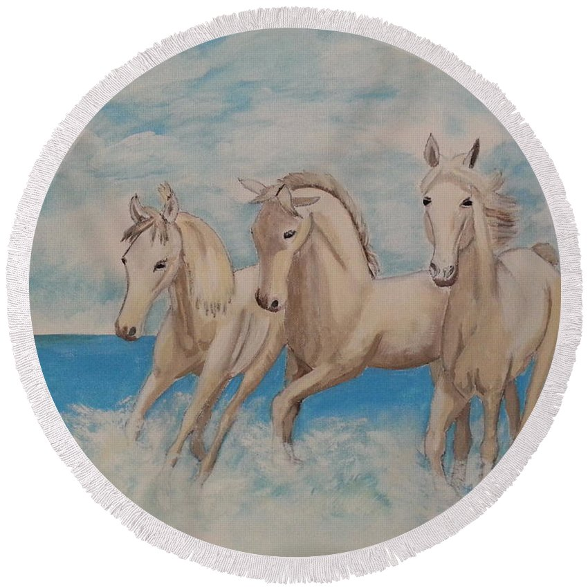 Horse Round Beach Towel featuring the painting 3 Horses by Janene Hall
