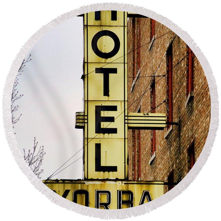 Hotel Yorba Round Beach Towel featuring the photograph Hotel Yorba by Gordon Dean II