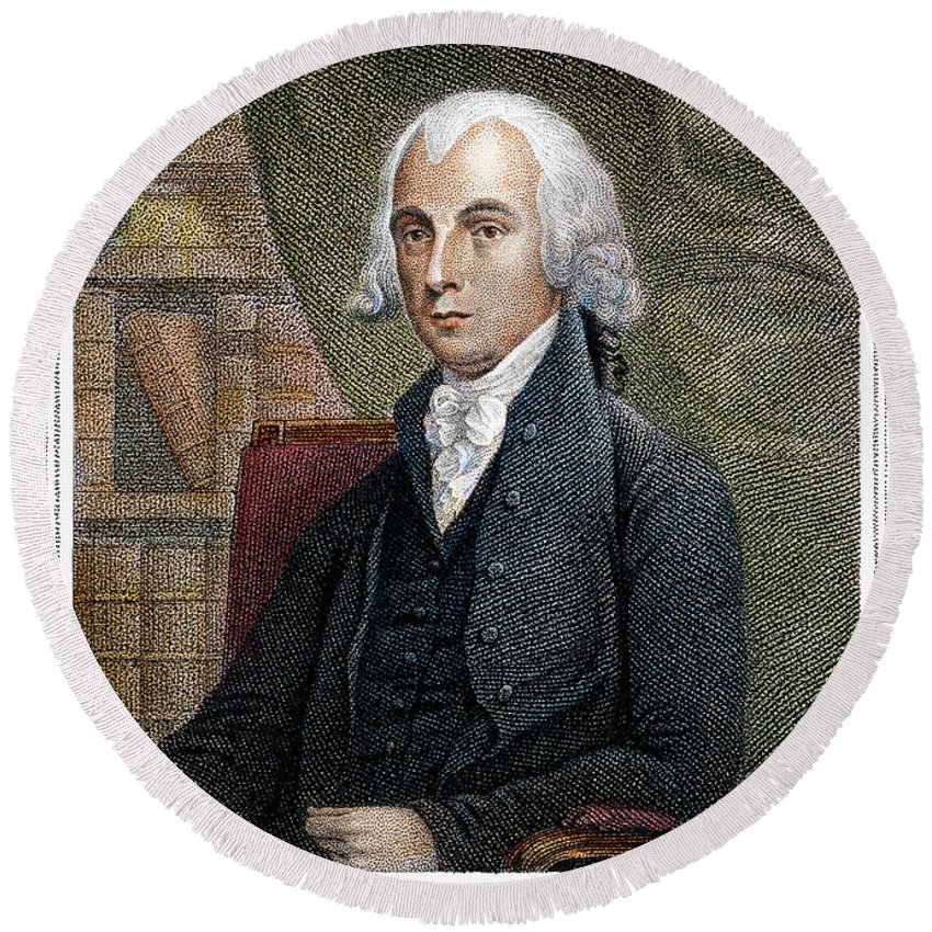 1815 Round Beach Towel featuring the photograph James Madison (1751-1836) by Granger