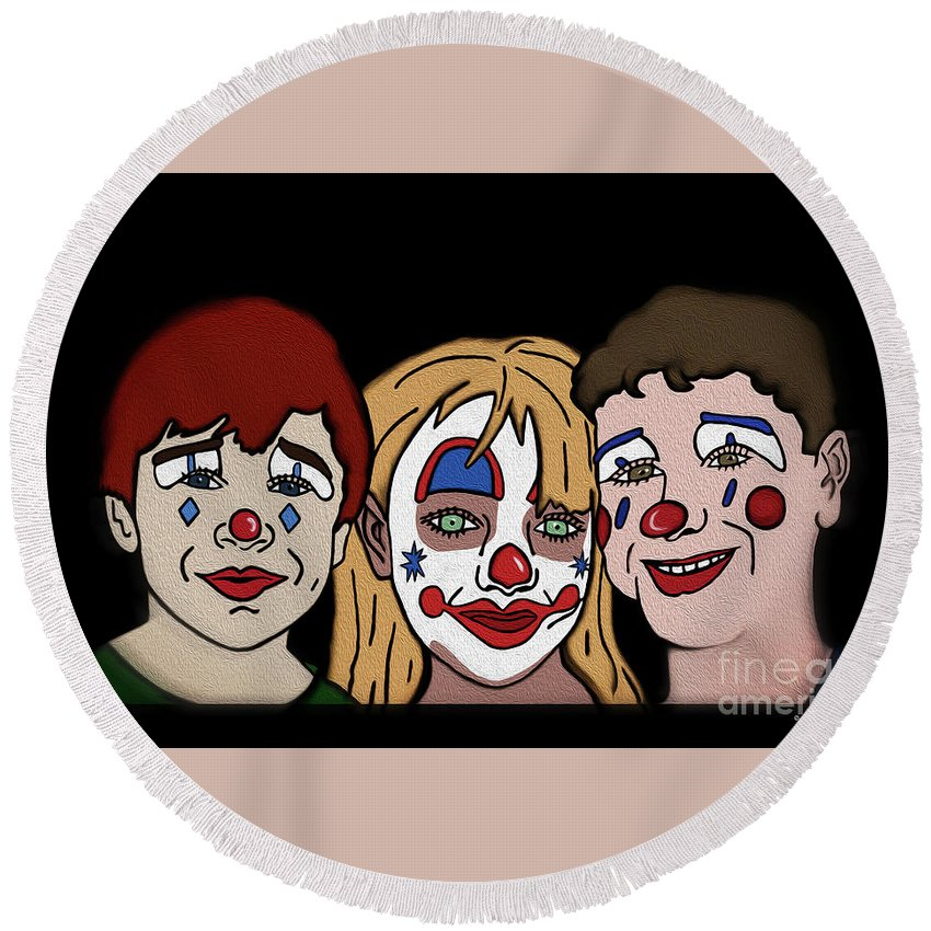 Clown Round Beach Towel featuring the digital art 3 Jesters by Megan Dirsa-DuBois