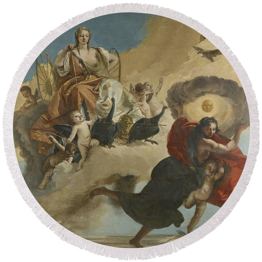 18th Century Art Round Beach Towel featuring the painting Juno And Luna by Giovanni Battista Tiepolo