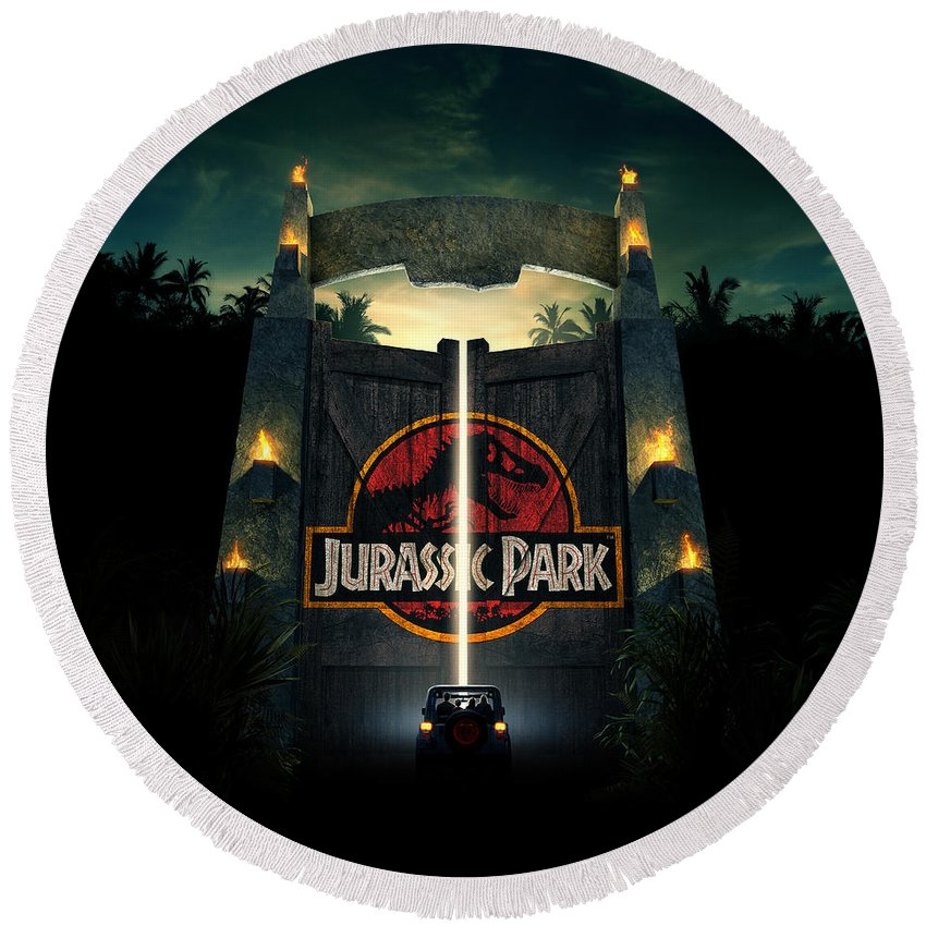 Jurassic Park 1995 Round Beach Towel featuring the digital art Jurassic Park 1995 by Geek N Rock