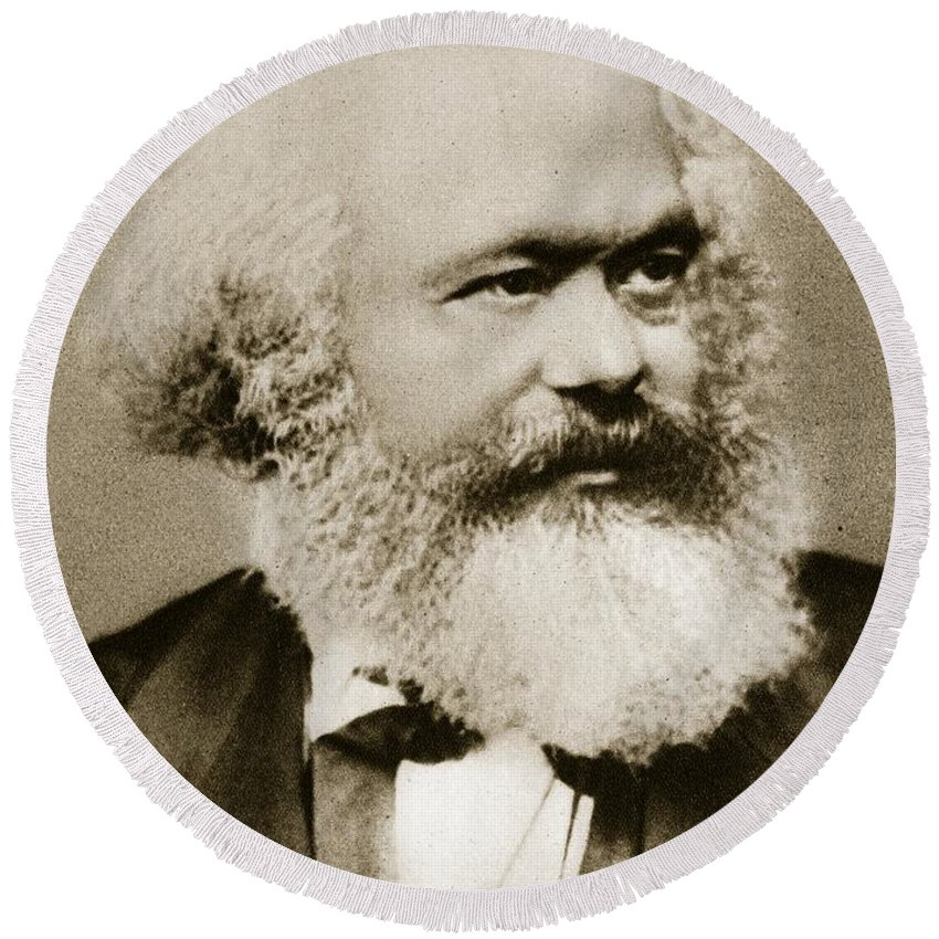 Marx Round Beach Towel featuring the photograph Karl Marx by Unknown