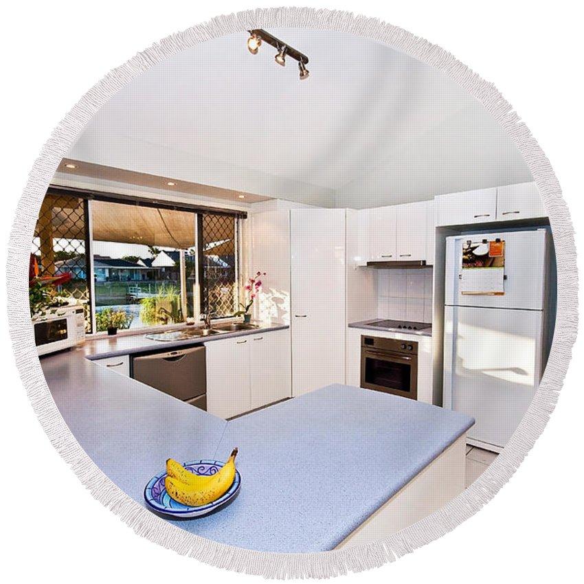 Kitchen Round Beach Towel featuring the photograph Kitchen by Darren Burton