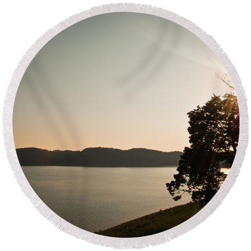 Lake Round Beach Towel featuring the photograph Lake Cumberland Sunset by Amber Flowers