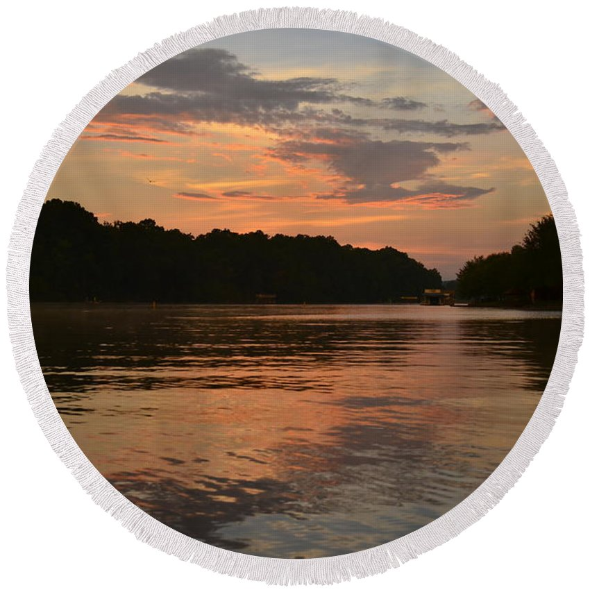 Lake Wedowee Round Beach Towel featuring the photograph Lake Wedowee Alabama by Mountains to the Sea Photo