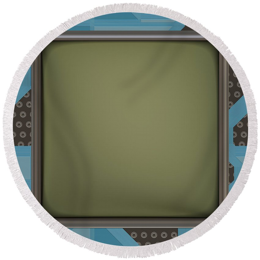 Lcd Screen On Circuit Generated Texture Round Beach Towel