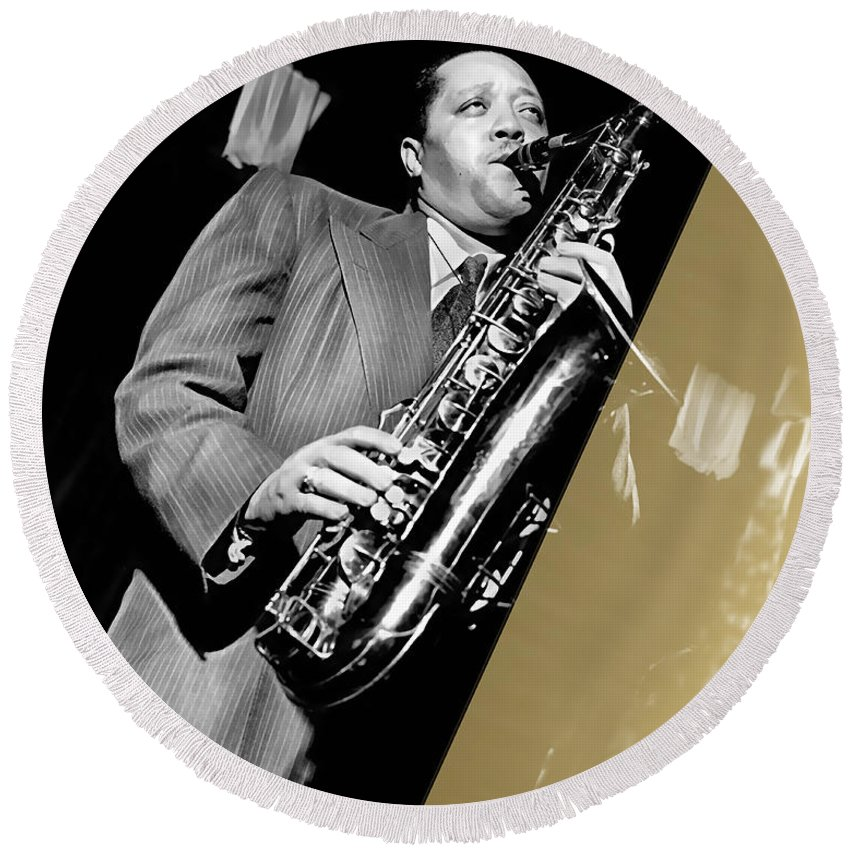 Lester Young Round Beach Towel featuring the mixed media Lester Young Collection by Marvin Blaine