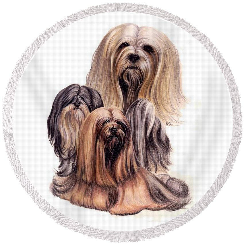 Purebred Round Beach Towel featuring the drawing Lhasa Apso Triple by Barbara Keith