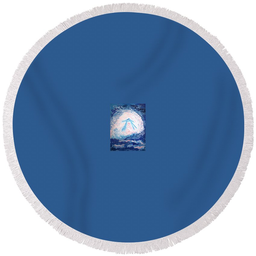 Love Round Beach Towel featuring the painting Love by Victoria Dutu