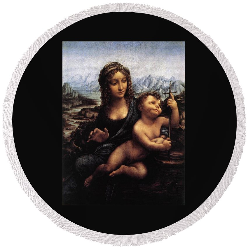 Blessed Virgin Mary Round Beach Towel featuring the painting Madonna With The Yarnwinder by Leonardo da Vinci