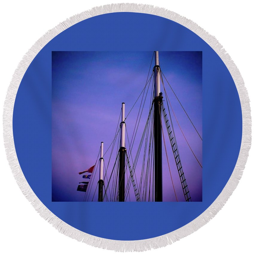 Ships Round Beach Towel featuring the photograph 3 Masts In Halifax by Laura Regier