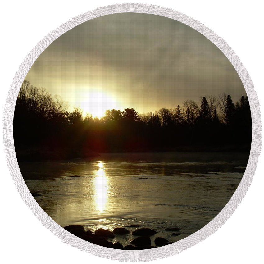 Mississippi River Round Beach Towel featuring the photograph Mississippi River Sunrise Reflection by Kent Lorentzen