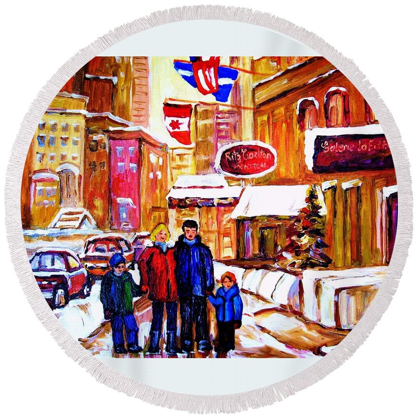 Montreal Round Beach Towel featuring the painting Montreal Street In Winter by Carole Spandau