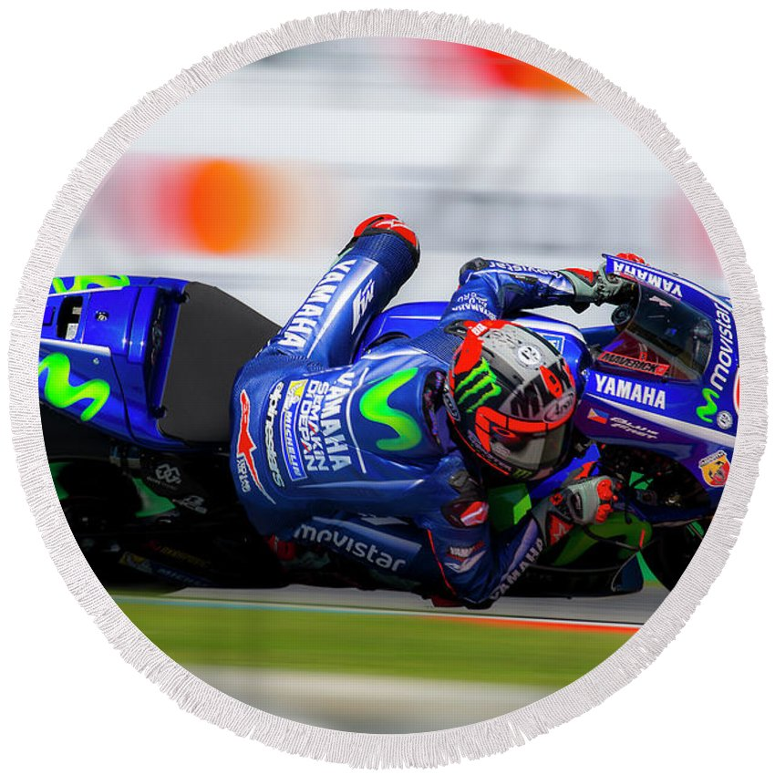 Andrea Dovizioso Round Beach Towel featuring the photograph Motogp by Srdjan Petrovic