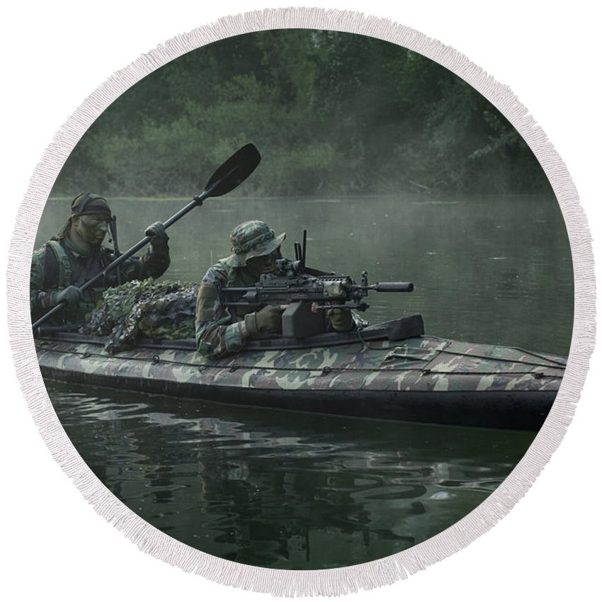 Special Operations Forces Round Beach Towel featuring the photograph Navy Seals Navigate The Waters by Tom Weber