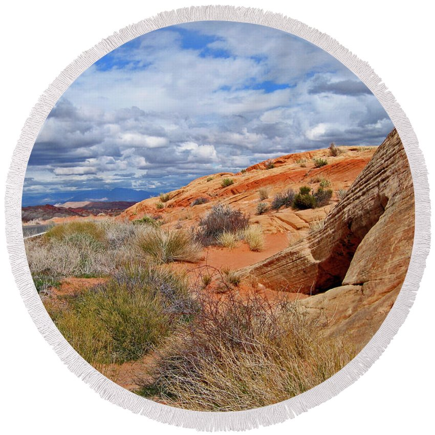 Landscape Round Beach Towel featuring the photograph Nevada Desert by Ira Marcus