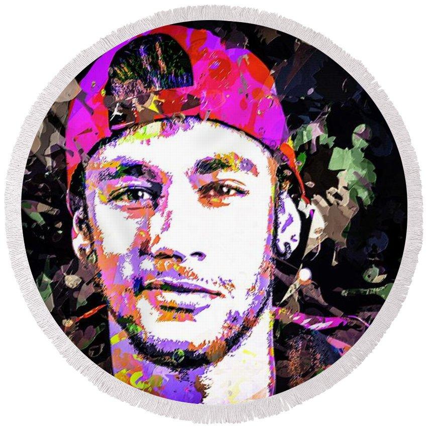 Beautiful Round Beach Towel featuring the mixed media Neymar by Svelby Art